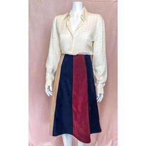 Faux Suede Color Block A-Line Midi Skirt Size S